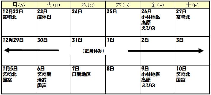宮崎年末カレンダー